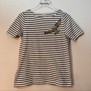 J Crew Striped Top With Sequined Eagle Size XS